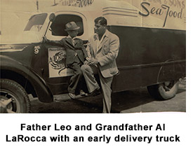 Father Al and Grandfather Leo LaRocca with an early delivery truck